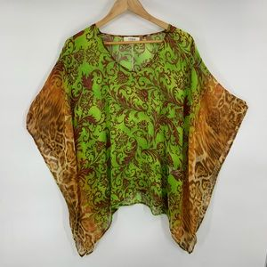 Umgee Sheer Tunic Green Size S/M Floral Kimono
